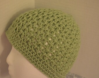 Crochet Sage green Beanie/Hat FREE SHIPPING in USA