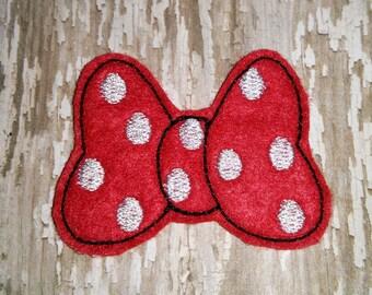 Set of 4 Mickey Minnie Mouse Bow Hairbow Feltie Felt Embellishment Bow! Birthday Party Felties Planner Clip Hair Bow Felties