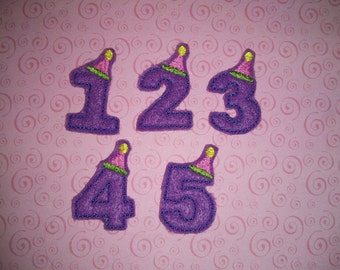 Set of 4 Birthday Party Hat Number Feltie Felt Embellishment Bow! Birthday Party Hairbow Hair Felties Clip Planner Number 1 2 3 4 5 6 7 8 9