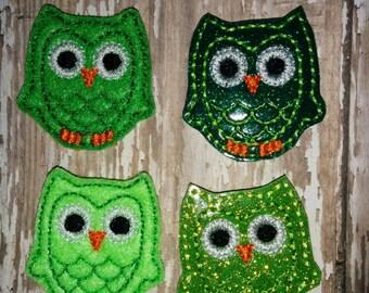 Set of 4 Green Owl Glitter St Patricks Patty Patrick's Day Feltie Felt Embellishment Bow! Birthday Party