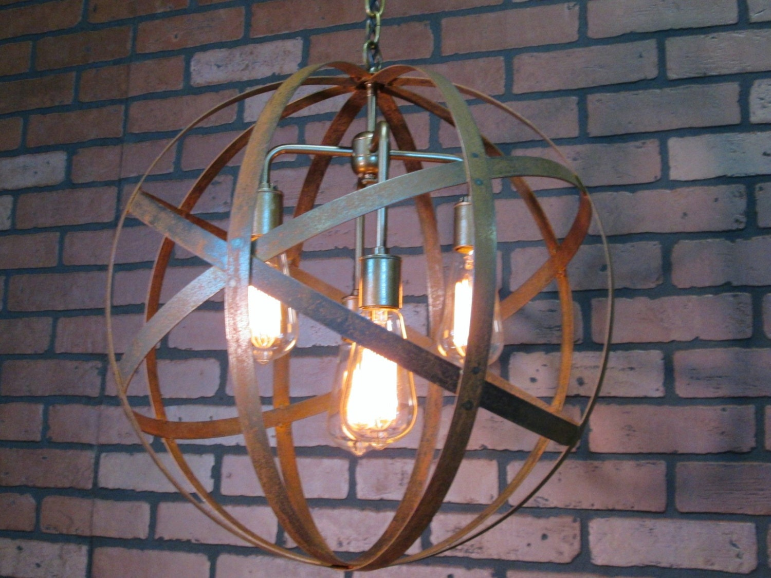 Ceiling Lights Rustic : Rustic industrial orb ceiling light sphere diameter