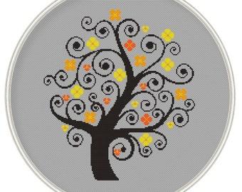 Tree Сross stitch pattern, cross stitch pattern PDF format, Instant Download, MCS029