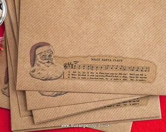 50 Kraft Envelope, Christmas Envelope, Vintage Santa Envelope, Printed Envelope, 155x155mm 6 1/4in square,  Ribbed Brown,  PSS034