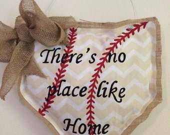 Baseball Burlap Door Hanger, There's no place like home, Personalized, Chevron, Decor, Wall Decor, Baseball party, Baseball Mom