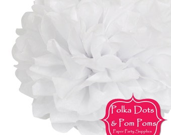 Birthday Party Decoration Ideas & Supplies / 2 x 30cm (12 inch) Snow WHITE Tissue Paper POM POM / Pompom / Paper Flower / Wedding