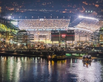 A view of Heinz Field during the last game of the 2014 Pittsburgh Steeler regular season - Metal Print