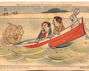 """Old humorous postcard, 1906, from the """"Magic Invisible"""" series, American Journal Examiner"""