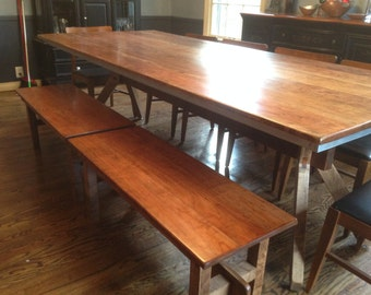 Reclaimed Cherry Dining Table with Trestle Base and Zinc Apron