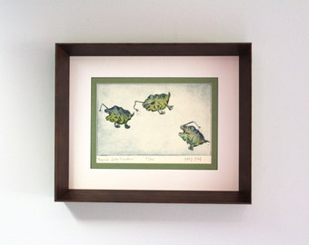 "Hand Painted Framed Intaglio Print ""Mama's Little Monsters"""