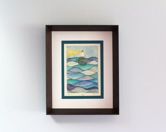 "Hand Painted Framed Intaglio Print ""Safe Harbor"""