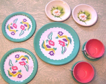 Vintage Ohio Art floral flowers tin litho cup and saucer plate doll dishes toy dishes