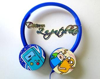 Adventure Time custom headphones earphones handmade
