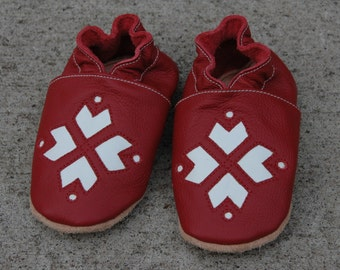 Wee·Kicks · Red & White Snowflakes · Handcrafted Leather Footwear · Soft Sole Baby and Toddler Shoes ·