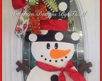 Snowman door hanger, wall decor, Christmas/Winter decor