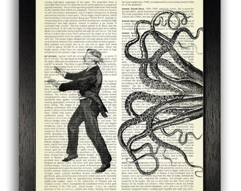 Funny Art Print, Squid Chasing Blindfolded Man, Victorian Wall Decor Art Print, Vintage Decal, Dictionary Art Print, Scry Halloween Decor