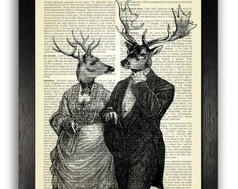 Victorian Deer Couple Art Print, Gothic Home Decor, Illustration Print, Dictionary Art, Home Office Decor, Animal Poster, Unique Decor Print
