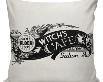 Halloween Witch Cafe Cushion Pillow Cover cotton canvas throw pillow 18 inch square UE-123 Urban Elliott
