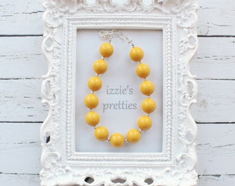 Mustard Yellow Chunky Beaded Bubblegum Necklace, Izzie's Pretties Simply Solid Collection, Accessories, Photo Prop