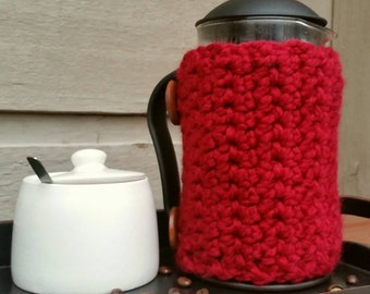 Ribbed Hand Knit French Press Cozy With Wooden Buttons -Multiple Colors Available 8 or 12 cup French Press Made to Order