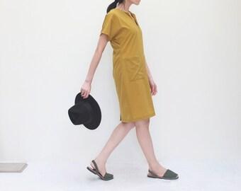 V-neck tencel bamboo silk dress in mustard yellow