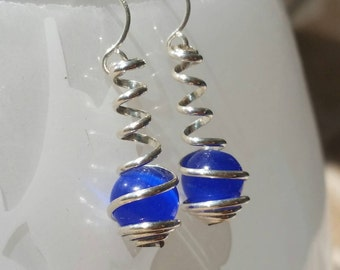 Sterling Silver and Cobalt Blue Cat Eye Wire Spiral Wrapped Caged Dangle Earrings
