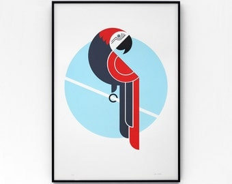 Parrot A2 limited edition screen print, hand-printed in 4 colours