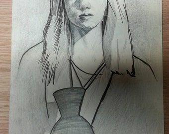"Oiginal Female Figure Model Drawing   Graphite Pencil Light Study   9.5"" x 7"" - 16.5"" x 13"" Framed Sketch   ""Water Basin"""