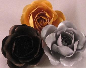 Set of (3) Men's Lapel Pin Flowers -  Metallic Collection