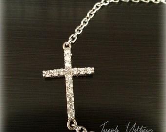 Sideways Cross Bracelet, Side way cross jewelry, Rhodium Plated Sideway cross