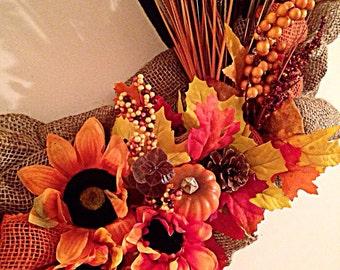 Burlap fall/autumn wreath
