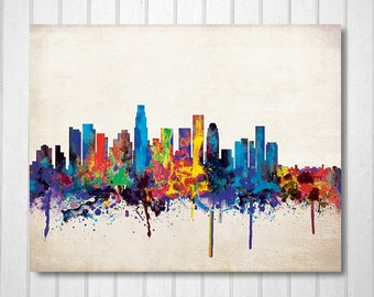 Los Angeles City Skyline, Digital watercolor art print. Modern Home Decor,No,330