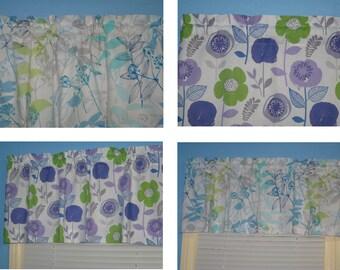 Handmade Window Greem Blue Purple White Floral Window Topper  CURTAIN VALANCE