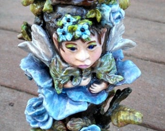 Unique avant garde real eggshell sculpture fairy fantasy blue rose garden pixie fine art sculpted egg figurines blues browns greens