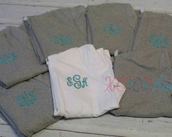 Womens Bridesmaid Bridal Party Monogrammed Light Weight Zip Jackets-- Customized with several color options