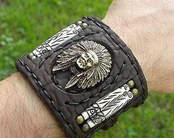 Handmade signed Indian Chief Bracelet Buffalo Leather bones customize brass Indian style wristband