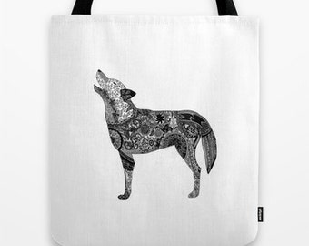 Henna-Inspired Wolf Tote Bag