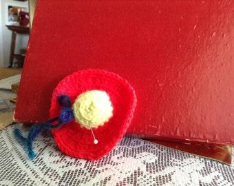 Handmade Red Yellow Hat Pin Cushion