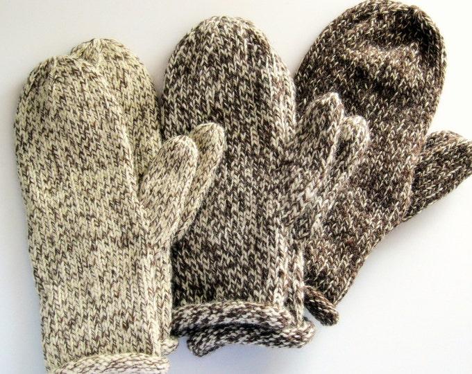Women's wool mittens - brown ragg