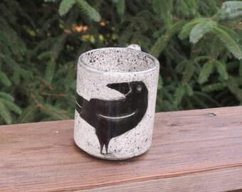 Stoneware mug, hand painted Raven mug