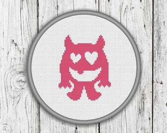 Smiling Cute Love Monster Counted Cross Stitch Pattern, Valentine's Day Monster - PDF, Instant Download