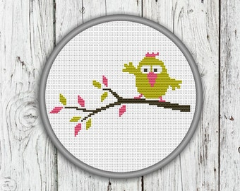 Cute Bird Sitting On A Branch Counted Cross Stitch Pattern - PDF, Instant Download