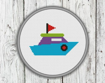 Little Ship Counted Cross Stitch, Needlepoint Pattern - PDF, Instant Download