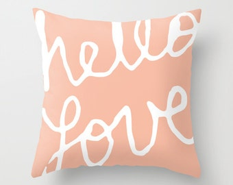 Hello Love Pillow with insert - Graphic Cushion with insert - Peach Throw Pillow - Pastel Nursery - Accent Pillow - Nursery Pillow -