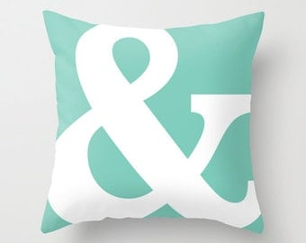 Ampersand Pillow Cover - Typography Throw Pillow - Modern Home Decor - Mint - Accent Pillow - By Aldari Home