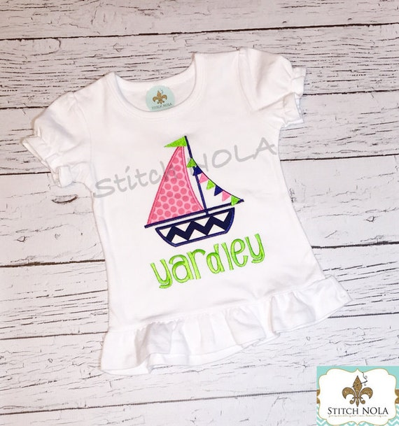 Sailboat with Flag Banner Shirt, Gown or Bodysuit