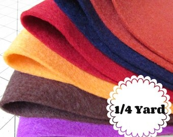 1/4 Yard 100% Merino Wool Felt - Cut to order - You Choose Color