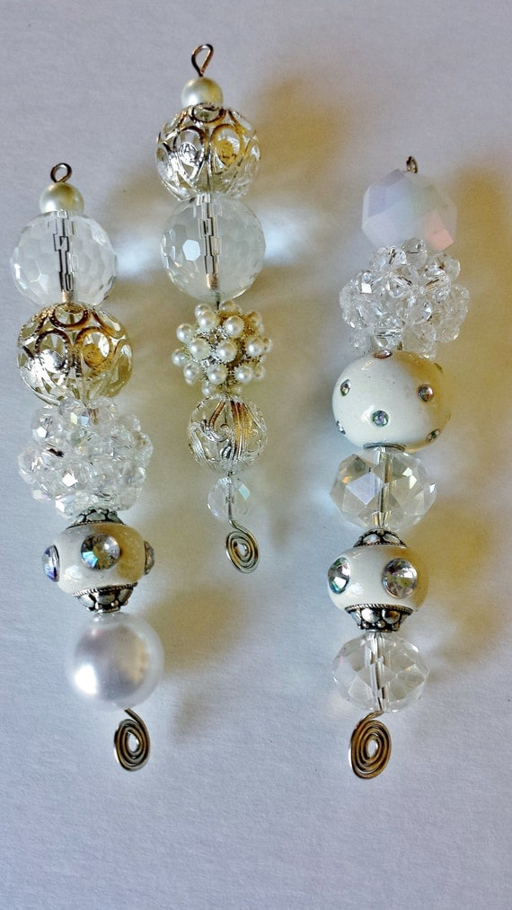 Sparkling White And Silver Beaded Icicle Ornaments Set Of 3