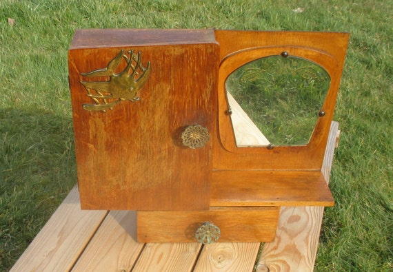 Beau Small Antique Brass Medicine Cabinet: Antique French Wood Medicine Cabinet Decorated Glass Mirror