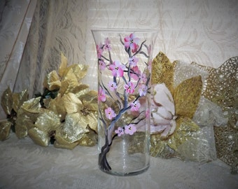 hand painted cherry blossom glass vase