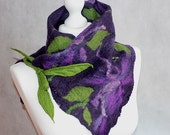 Felted Flower Scarf Felt Collar Purple Violet Green Leaf, neck warmer, Pixie, Bohemian, gift for her, unique, art, merino wool, OOAK